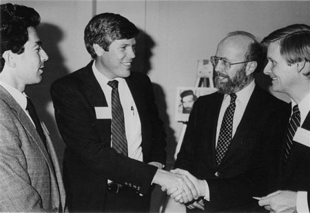 Washington, D.C., 1983 -- Rep. Steve Bartlett (R-Tx.), co-chairman of the 98th Congressional Class for Soviet Jewry, greets Rep. Connie Mack (R-Il.), at the group's inaugural Reception and Briefing, coordinated by the National Conference on Soviet Jewry (NCSJ). Looking on are (L) Rep. Mel Levine (D-Ca.), 98th Congressional Class for Soviet Jewry co-chairman, and (R) Jerry Goodman, NCSJ Executive Director. Reps. Bartlett and Levine co-hosted the event, attended by newly elected members of the House and NCSJ Executive Committee members. The Congressional Class for Soviet Jewry is organized in association with the National Conference on Soviet Jewry to help facilitate Congressional involvement on behalf of the Jewish minority in the USSR. It includes 77 Members of Congress, out of 80 newly elected to the House of Representatives.