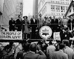 Oct. 1973: Singing Israel's national anthem at the Freedom Rally for Israel at City Hall in New York City.