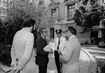 Jun. 1974: NCSJ Chairman Stanley H. Lowell and Washington, D.C. Jewish leaders delivering petitions to the Soviet Embassy.